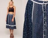 Gunne Sax Skirt 70s Prairie Skirt Calico Floral Bohemian 1970s Boho Hippie Midi Tiered High Waist Vintage Button Up Blue Small