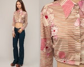 Floral Crop Top 70s Blouse Button Up Boho Shirt Bohemian 1970s Vintage Boho Hippie Brown Pink Striped Long Sleeve Small Medium