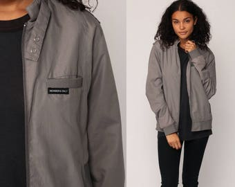 Members Only Jacket 80s Windbreaker Grey Bomber Cafe Racer Hipster Shell Light Vintage 1980s Lightweight Taupe Small