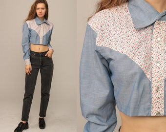 Western Shirt 70s Blouse Crop Top Cowboy CHAMBRAY Floral Pearl Snap Button Up Top 1970s Vintage Hipster Long Sleeve Blue Small Medium