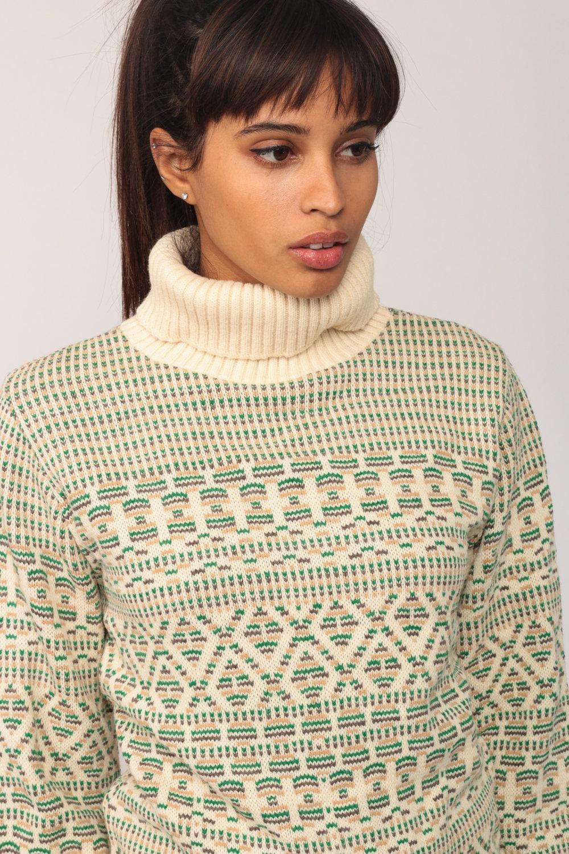 Turtleneck Sweater Striped Sweater 80s Ski Sweater Boho Fair