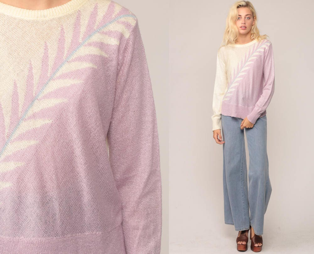 Pastel Sweater 80s Sweater Knit LEAF PRINT Lavender Color