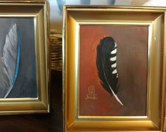 Feather Painting in Frame - (woodpecker)