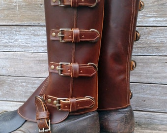 Taller Swiss Military Style Gaiters or Spats in Glossy Chocolate Brown Leather w Antiqued Brass Hardware