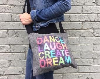 Handcrafted bag, eco friendly handbag, vegan bag, recycled handbag, messenger bag, unique handbag, fabric bag