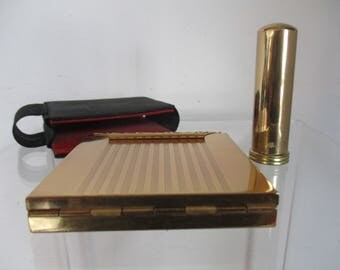 Vintage Vanity Compact with Case, Powder, Lipstick