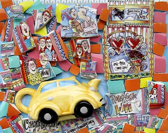 Life is a Ride with Happy People - colorful broken China Mosaic Tiles