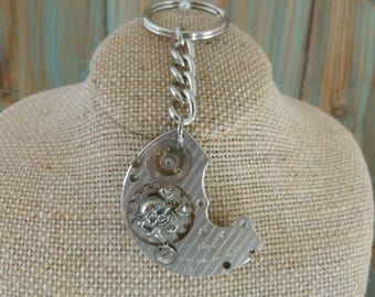 Handcrafted Artisan Steampunk Key Ring Skull Crossbones Gear ~ Key Chain Womens Mens Vintage Watch Part Accessories ~ Unique Father Gift