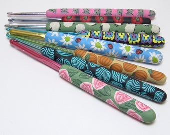 Discounted Crochet Hook, Multi Colored, Polymer Clay Cane, Handmade Craft Supply, Unique Crocheter Gift, Ergonomic