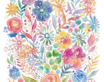 Summer Flowers Watercolor -PRINT - floral- flowers - Spring Colors Art - Whimsical ARt - Nursery ARt - feminine art