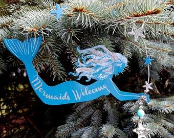 Mermaid Christmas Ornaments for Beach Decor - Nautical Mermaid Christmas Ornament - Holiday Coastal Mermaid Tree Ornaments in 2 Blues