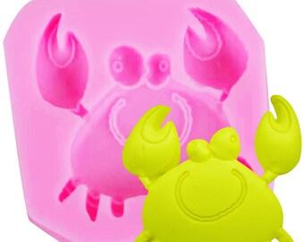 Crab Shape Silicone Mold Silicone Mold, Sugar Mold, Chocolate Mold, Cake Decoration Tool 5.3*5.2*1cm