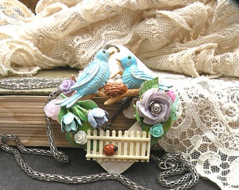 summer collage necklace bluebird assemblage flower bird pendant fence cottage chic upcycled vintage jewelry