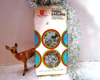 Vintage Tinsel Garland Silver, Made in USA, Original Box, Metalized Vinyl, Tarnishproof Flame Retarded, Union Wadding Co, Draping Sparkle