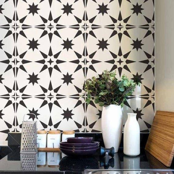 Jewel Tile Stencil Cement Tile Stencils DIY Faux Tiles
