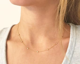 NEW Dainty Geo Drops Necklace for everyday wear! Gold or silver. Minimalist style.