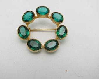 Green PIN Gold filled Danecraft Beautiful simulated stones are emerald green