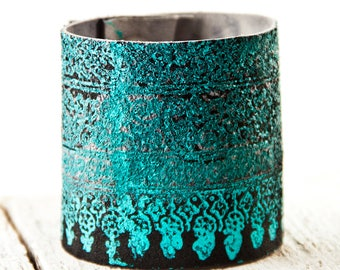 Leather Cuff, Turquoise Bracelet, Leather Jewelry, Bohemian Women's Leather Bracelet Wristband