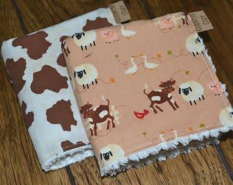 Western Cowgirl Cowboy Baby/children's washcloths Set of 2