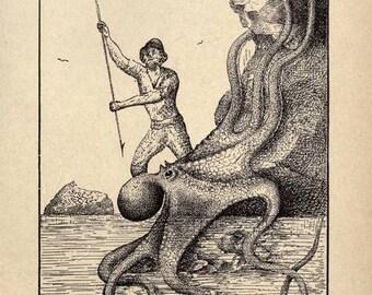 Instant Download Octopus  Sea Warfare  Illustration Sailing Ship Attack You Print Digital Image