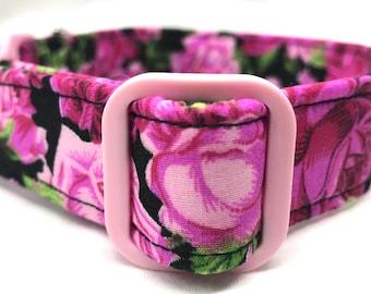 Pink Roses Dog Collar Wedding Girl Flowers Fabric