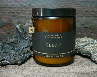 Cedar Candle - Coconut Wax Amber Jar Candles, Cedarwood Candles, Boyfriend Gift, Birthday Gift for Him, Candle for Men - Vegan Candles