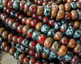 "Picasso Seed Beads, 4/0 Czech Seed Beads, Aged Picasso- Red n Black Mix (1/19"") #504"