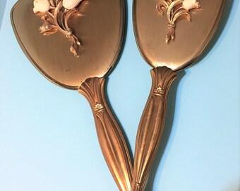 Sweet Vintage Mirror and Brush Vanity Set