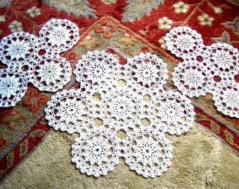 Doily HAND CROCHETED Lace Dresser Runner Scarf Topper Cotton Tablecloth WHITE 3 Grannys