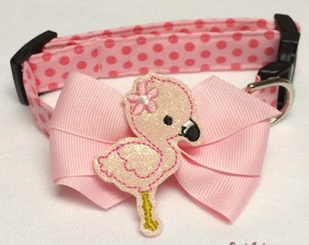 Pink Flamingo Summer Dog Collar Size XS through Large by Doogie Couture Pet Boutique