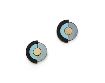 Concentric Circle Earrings - Pastel Blue