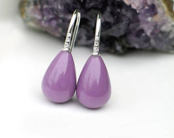 Orchid Purple Teardrop Earrings | Phosphosiderite Smooth Drops | CZ Sterling Silver Hook Hoops | Birthday | Bridal jewelry | Ready to Ship