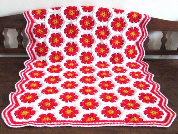 Handmade Crochet Christmas flowers blanket, afghan, throw granny squares 49 by 36 inch