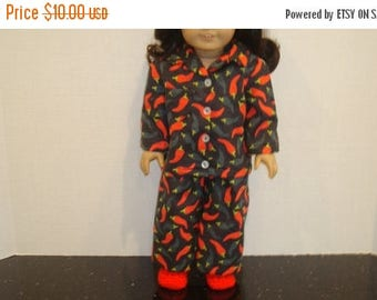 "ON SALE 18 inch doll clothes, Fits 18"" American girl doll, Pajamas, Ready to ship, AG Doll, Flannel,  Chili peppers, spicy, hot"