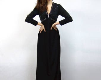 70s Maxi Dress Black Rhinestone Party Dress 1970s New Years Eve Dress Long Sleeve Maxi - Small to Medium S M