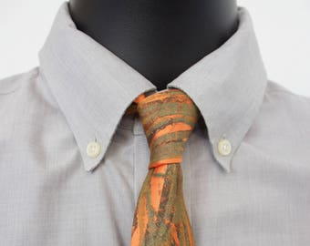 "Orange NeckTie ""Double Branch"" - Monoprint Tie"
