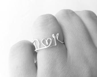 Lovers Initials Wire Work Silver Ring with Heart - Dainty Custom Love Initial Rings - Partner, Spouse, Husband, Wife, Boyfriend, Girlfriend