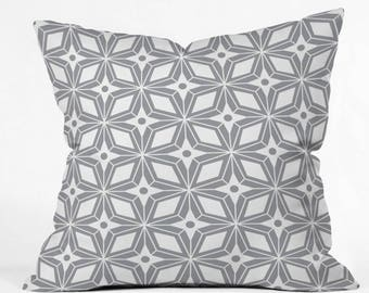 Midcentury Modern Geometric Throw Pillow // Cushion // Starburst Gray Design // Retro Style // Home Decor // Throw Cushion // Pillow // Gray