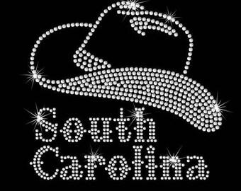 SALE South Carolina cowboy hat iron on rhinestone transfer