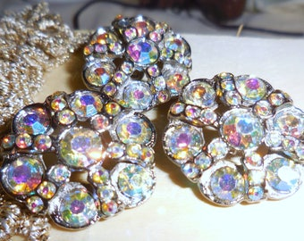 Rhinestone Buttons Aurora Borealis Buttons Shank Vintage Buttons Ship Free