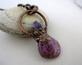 Sugilite & Amethyst with Copper Necklace, Electroform Copper, Boho Necklace, SugiliteStone Pendant