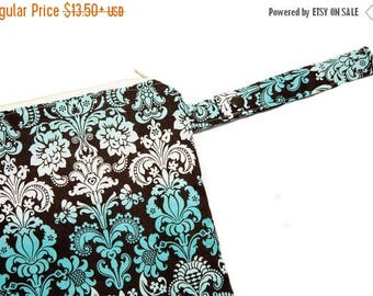 On Sale Turquoise Damask - Sweet Bobbins Wet Bag - SEAM SEALED - Snap Strap - Boutique Quality
