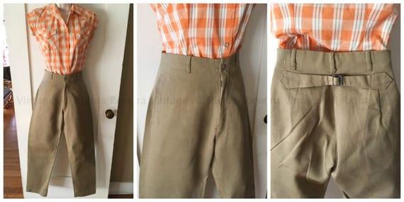 1950s Fabulous High Waist Khaki Pants with Adjustable Buckle Back Side Pockets Belt Loops-XS
