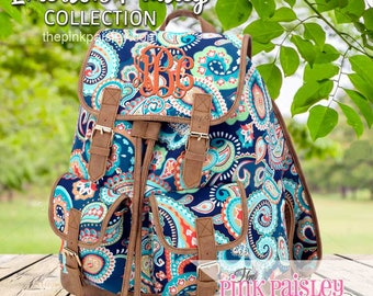 Monogrammed Backpack | Personalized Backpack | Girls School BookBag | Back To School | Emerson Paisley Campus Backpack