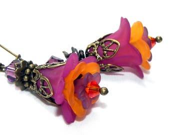 Lucite Flower Earrings -  Plum, Orange and Purple Tulip beads and Swarovski crystals - Victorian earrings - Brass flower bead caps
