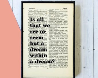 SUMMER SALE Edgar Allan Poe Quote -  A Dream Within a Dream - Book Page Art - Inspirational Quote - Framed Quotes - Framed Print - Book Love