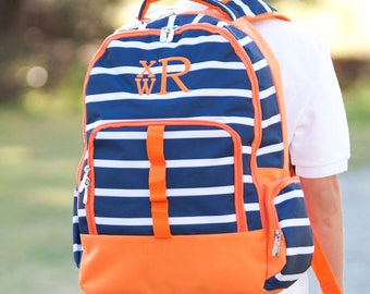 2 Piece Set - Monogrammed Navy and Orange Line-Up Backpack and Lunch Box; Back to School; Perfect for Boys