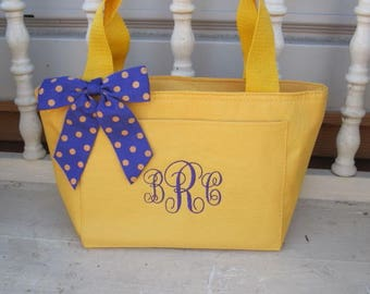 Women's Monogram Yellow Insulated Lunch Bag Box Cooler Personalized Women
