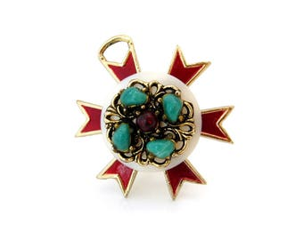 Vintage Maltese Cross Enamel Necklace Pendant, Lucite Cabochon Red Green, 1960s Costume Jewelry