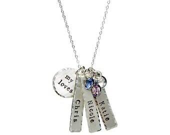 Custom listing; 4 Names Sterling Silver My Little Loves Personalized Necklace